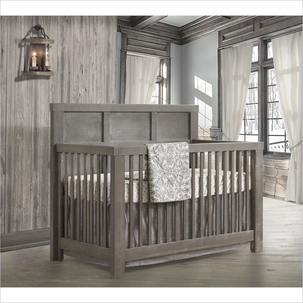 Natart Rustico Brushed Oak 5-in-1 Convertible Crib with Wood Panel