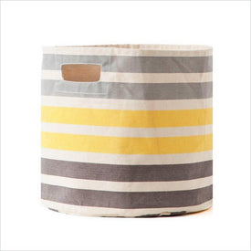 Pehr 3 Stripe Bin in Neutral Grey/Yellow