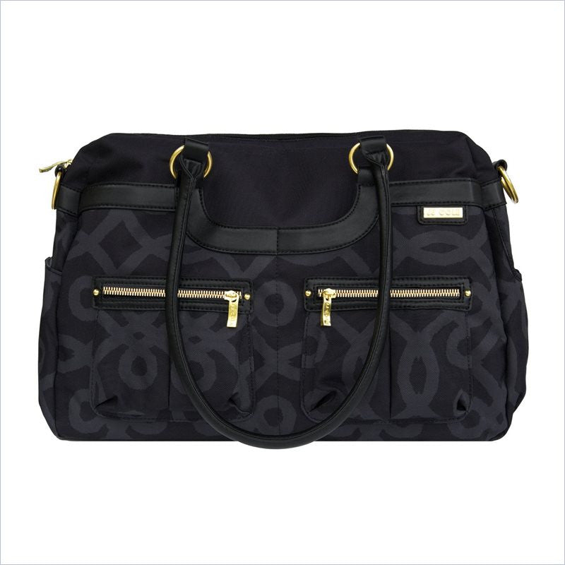 JJ Cole Satchel Diaper Bag In Black and Gold