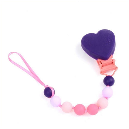 Chewbeads Baby Pacifier Clip in Heart