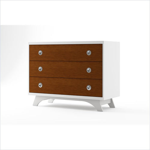 Dutailier Melon 3 Drawer Dresser in White and Harvest