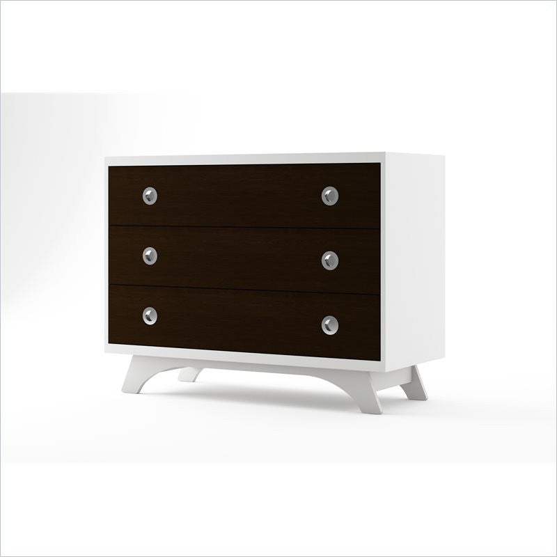 Dutailier Melon 3 Drawer Dresser in White and Espresso