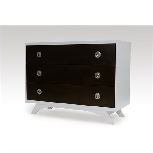 Dutailier Melon 3 Drawer Dresser in White and Coffee