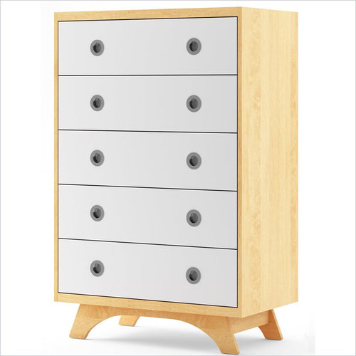 Dutailier Melon 5 Drawer Dresser in Natural and White