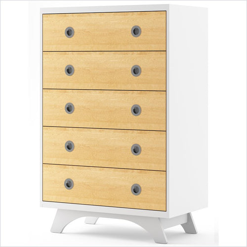 Dutailier Melon 5 Drawer in White and Natural