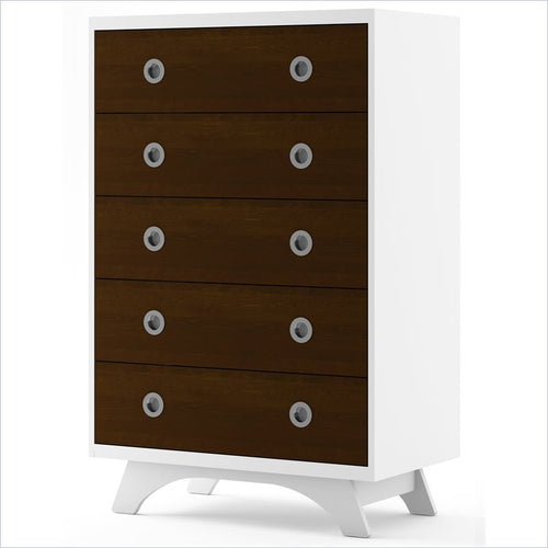 Dutailier Melon 5 Drawer Dresser in White and Coffee