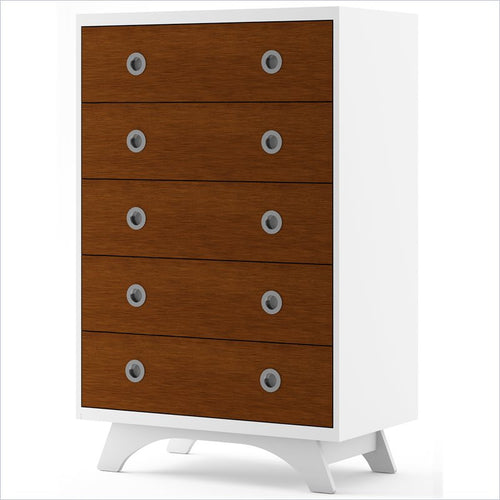Dutailier Melon 5 Drawer Dresser in White and Harvest