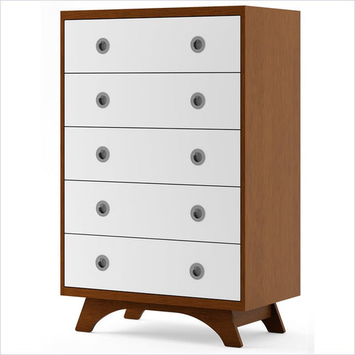 Dutailier Melon 5 Drawer Dresser in Harvest and White