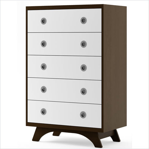 Dutailier Melon 5 Drawer Dresser in Espresso and White