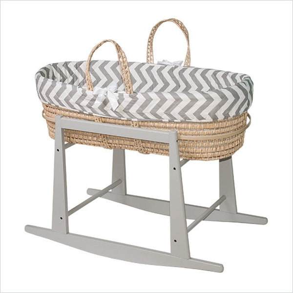 Jolly Jumper Moses Basket in Grey and White Chevron