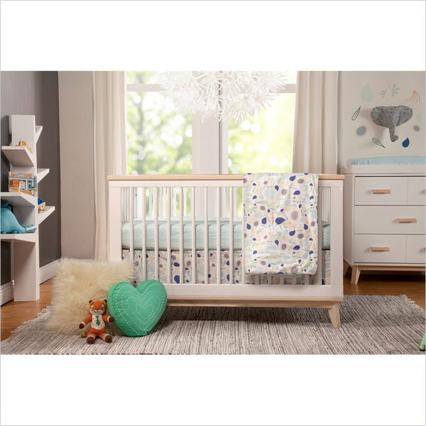 Babyletto Scoot 3-in-1 Convertible Crib and Dresser Set in White and Washed Natural Finish