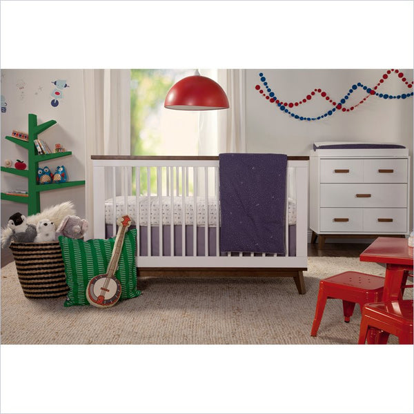 Babyletto Scoot 3-in-1 Convertible Crib and Dresser Set in White and Walnut