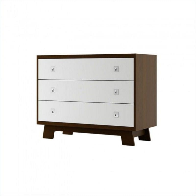Dutailier Pomelo 3 Drawer Dresser in Coffee and White