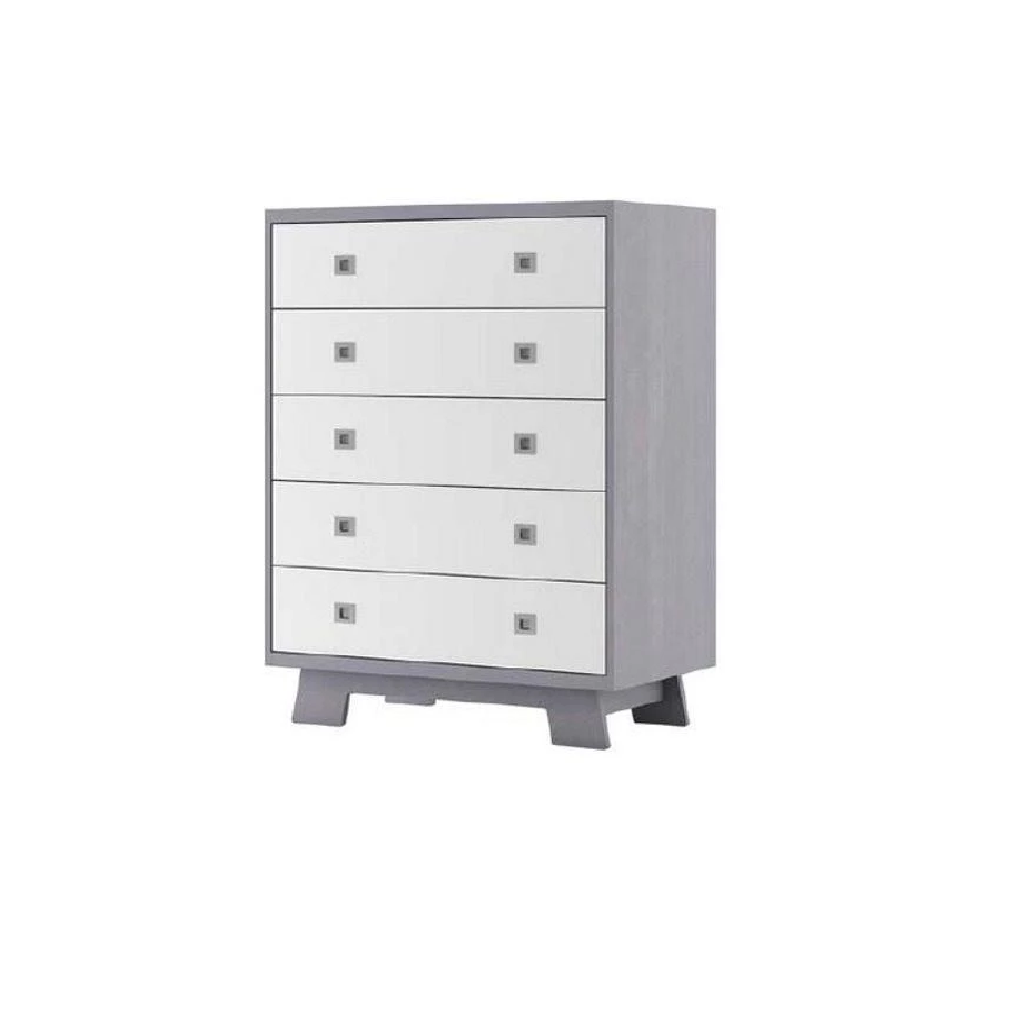 Dutailier Pomelo 5 Drawer Dresser In Grey And White
