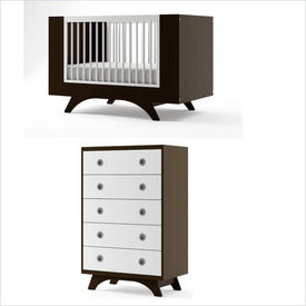 Dutailier Melon Crib and 5 Drawer Dresser Set in Espresso and White