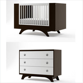 Dutailier Melon Crib and 3 Drawer Dresser Set in Espresso and White