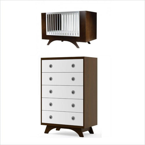 Dutailier Melon Crib and 5 Drawer Dresser Set in Coffee and White