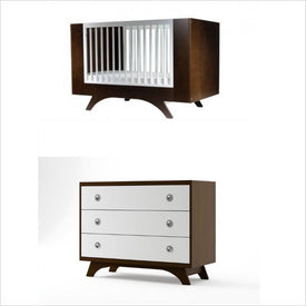 Dutailier Melon Crib and 3 Drawer Dresser Set in Coffee and White