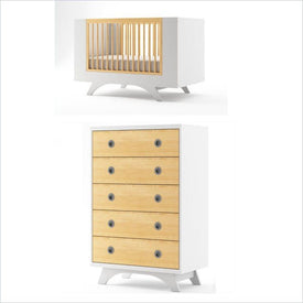 Dutailier Melon Crib and 5 Drawer Dresser Set in White and Natural