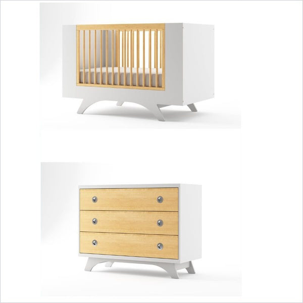 Dutailier Melon Crib and 3 Drawer Dresser Set in White and Natural