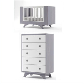 Dutailier Melon Crib and 5 Drawer Dresser Set in Grey and White