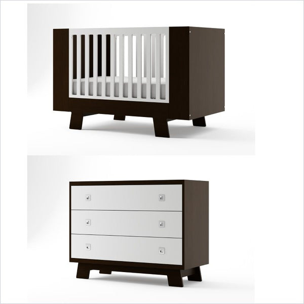 Dutailier Pomelo Crib and 3 Drawer Dresser Set in Espresso and White