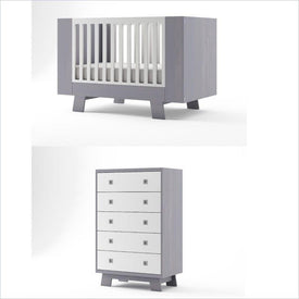 Dutailier Pomelo Crib and 5 Drawer Dresser Set in Grey and White