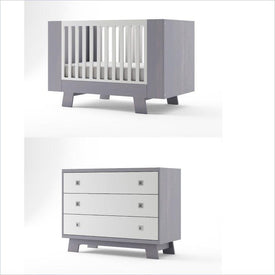 Dutailier Pomelo Crib and 3 Drawer Dresser Set in Grey and White