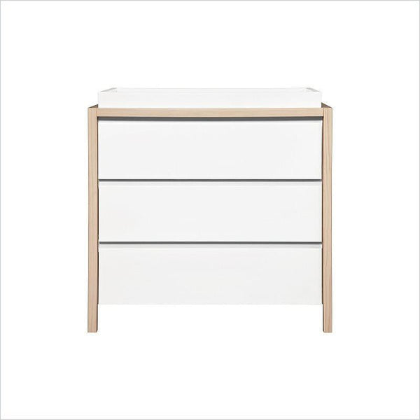 Babyletto Bingo 3-Drawer Changer Dresser in White With Washed Natural