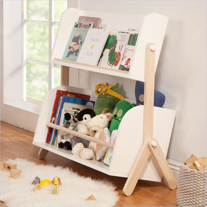 Babyletto Pogo Bookshelf In White With Washed Natural