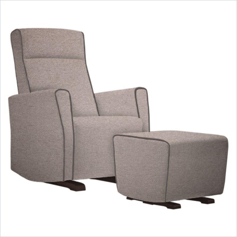 Dutailier Fogo Upholstered Espresso Glider in Cloud with Stone Piping