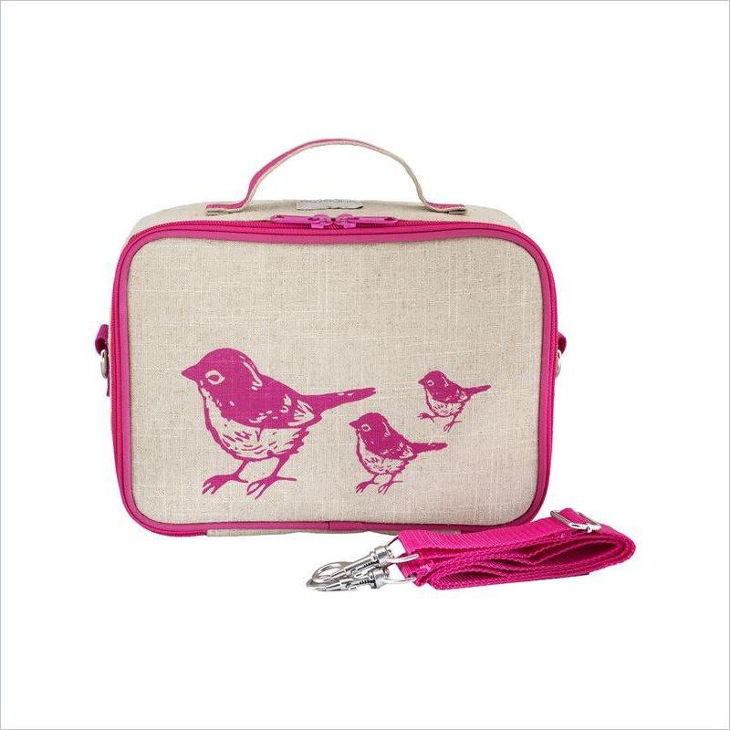 SoYoung Pink Birds Lunch Box Uncoated Linen
