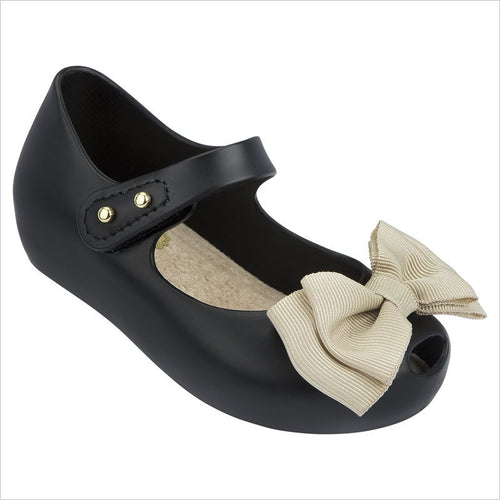 Mini Melissa Ultragirl Sweet Flat in Black Matt/Beige Bow