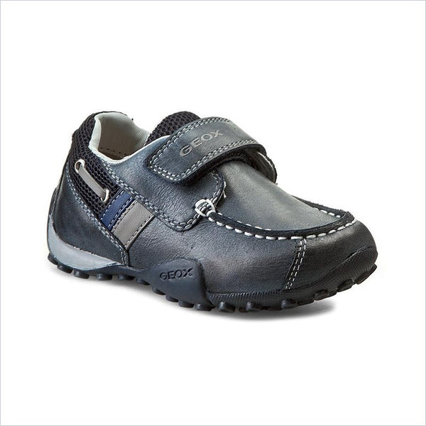 Geox Jr Snake Moc Leather Junior in Navy and Grey