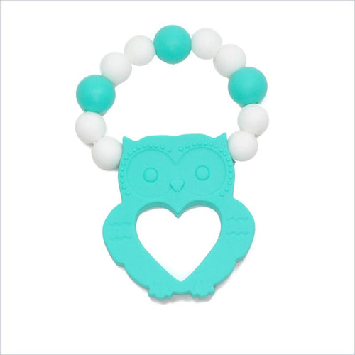 Glitter & Spice Owl Teether in Teal