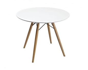 Plata Decor Eames Kids Wooden Base Round Table in White