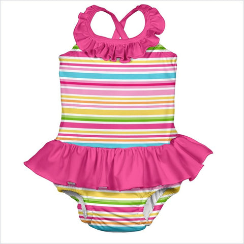 I play. Mix & Match One-piece Swimsuit with Swim Diaper in Pink Multistripe