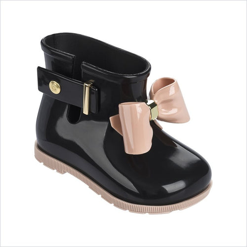 Mini Melissa Sugar Rain Bow Boot in Black/Pink