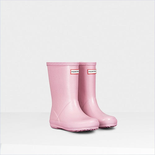 Hunter Kids Original First Glitter Rain Boots in Fondant Pink