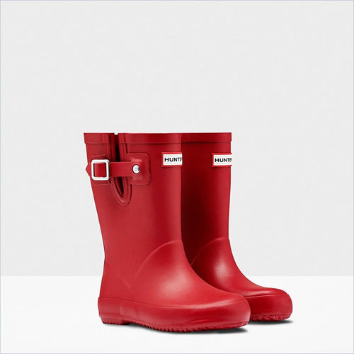 Hunter Kids Flat Sole Rain Boots in Military Red