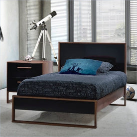 Tulip Rio Single Bed in Walnut and Glossy Black