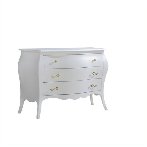 Natart Allegra Gold 3 Drawer Dresser in White