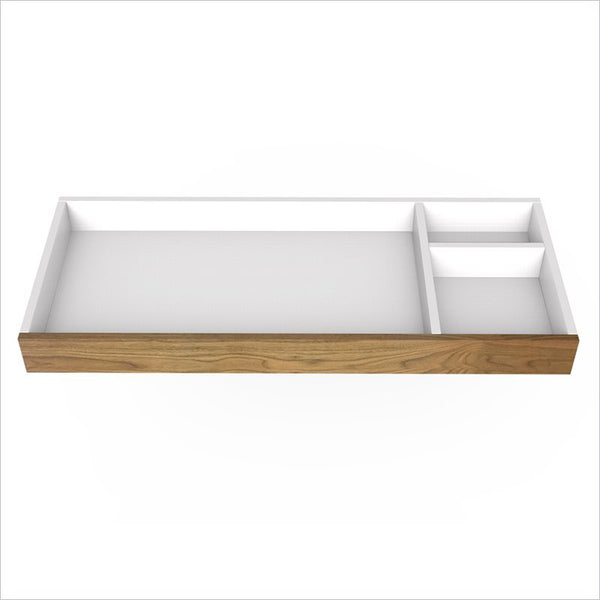 "Spot On Square 45"" Wide Changing Tray in White/Walnut"