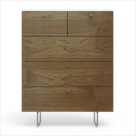 "Spot On Square Alto 5 Drawer 34"" Dresser in White and Walnut"