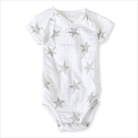 Aden + Anais Short Sleeve Kimono Body Suit in Silver Star