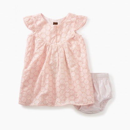 Tea Collection Eyelet Baby Dress in Pink Gloss
