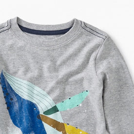 Tea Collection Whale Splash Graphic Tee for boys in  MED HEATHER GREY