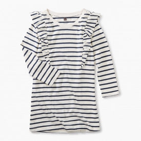 Tea Collection Striped Ruffle Shoulder Dress for girls in Chalk
