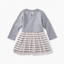 Tea Collection Striped Tulle Skirted Dress for baby girl in MED HEATHER GREY