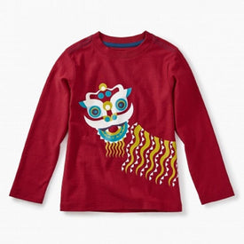 Tea Collection New Year Lion Graphic Tee CHINA RED